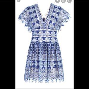 Bcbg taran 8 flutter sleeve blue dress mini new
